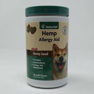 NaturVet Allergy Aid HEMP Soft Chew for Dogs (60 Chews) Exp 04/24 #9015