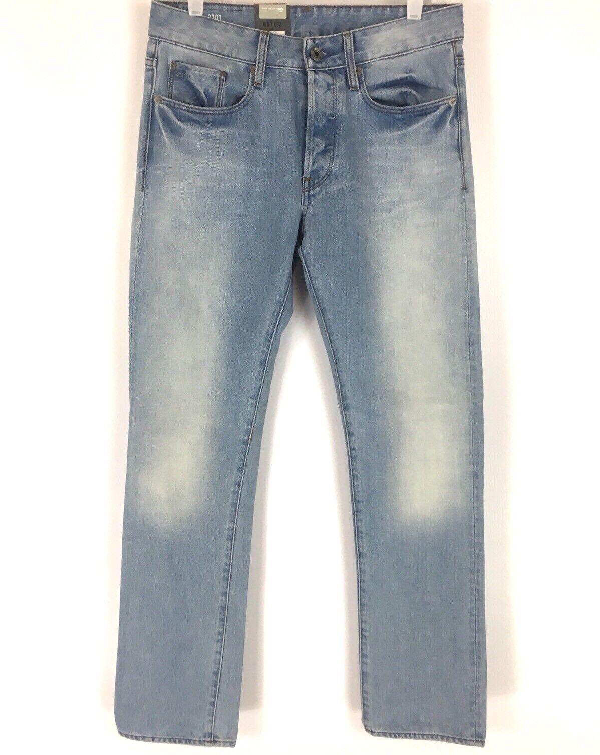 G Star Mens 3301 Slim Straight Jeans Light Aged Wisk Denim Size 30 NWT
