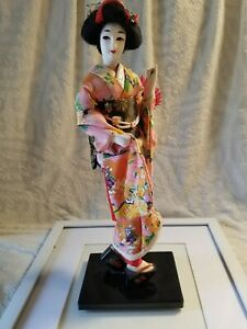 Vintage japanese OIRAN geisha doll With Umbrella cloth hands feet