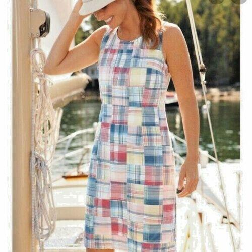LL Bean Madras Plaid Dress Patchwork Sheath Lined