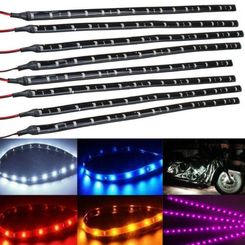 8x New 30cm 15 SMD 3528 LED Flexible Strip Light Car Motorcycle Lamp Waterproof