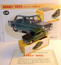 DINKY TOYS ATLAS SIMCA 1000 RALLYE 2 VERT FONCE METAL REF 520 PROTOTYPE 1975 BOX