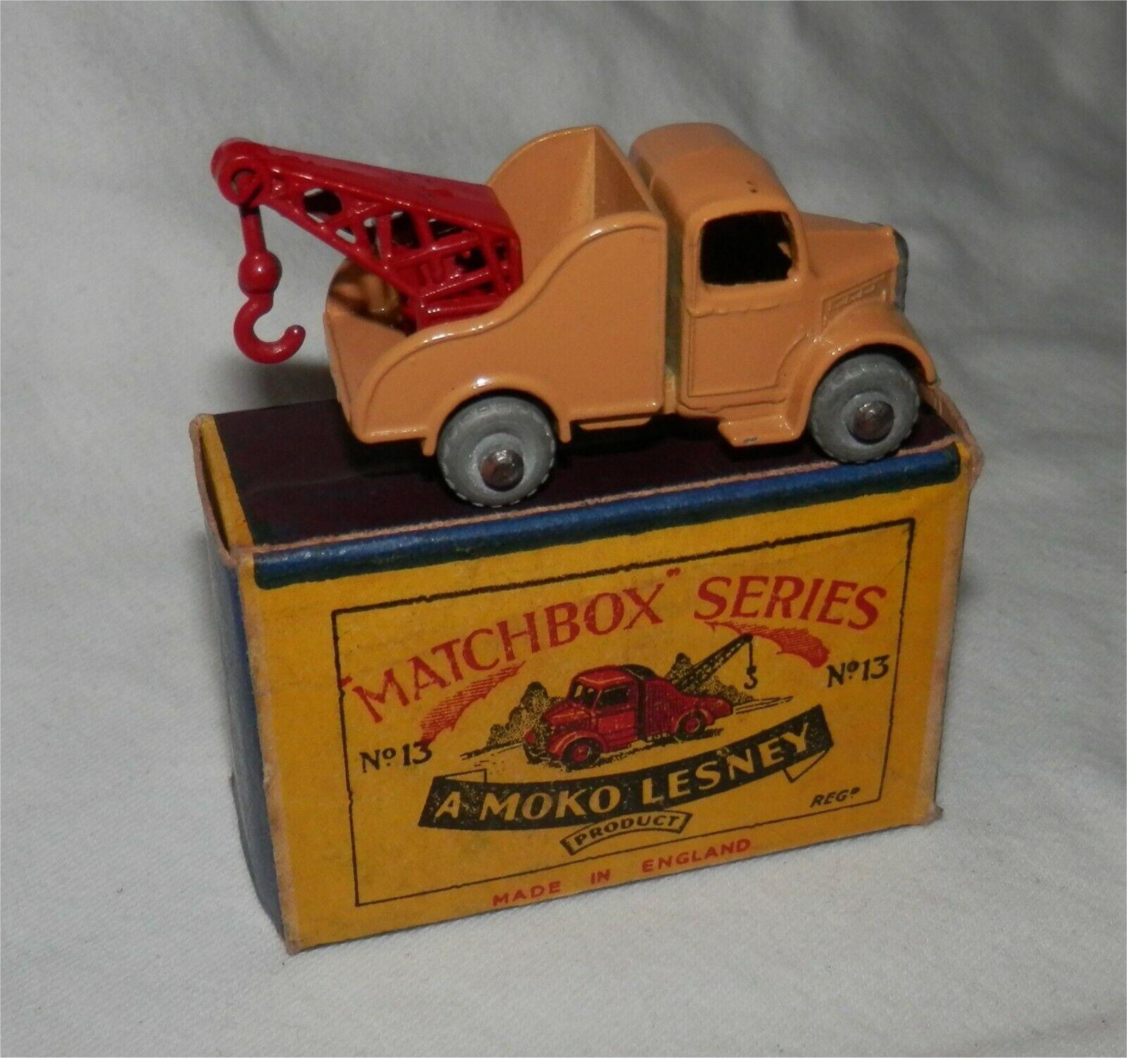 50s.MatchBox Lesney 13 BEDFORD WRECKER,breakdown,Metal wheel.MINT IN BOX orignal