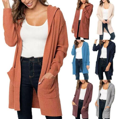 Women Long Sleeve Pocket Cardigan Tops Hoodie Sweater Knitted Hooded Coat US