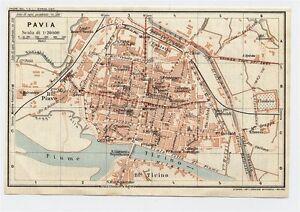 1927 Original Vintage City Map Of Pavia Lombardy Italy Ebay