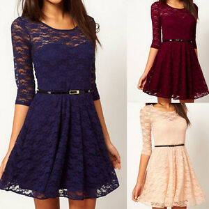 Womens-Sexy-Spoon-Neck-Slim-3-4-Sleeve-Cocktail-Lace-Skater-Dress-UK-Size-8-16