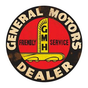 GENERAL MOTORS GMH   ROUND  TIN SIGN RUSTIC 35cm DIAMETER