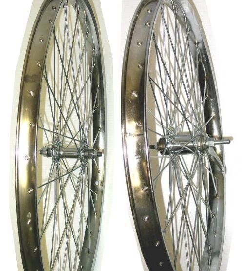 New Heavy Duty Cruiser Bicycle 26x2.125 Rear & Front Wheels Coaster 12g H Chrome