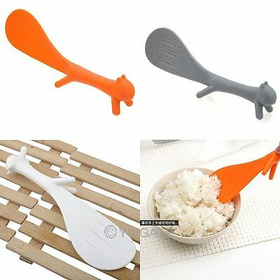 3 Colors Kitchen Squirrel Shape Rice Paddle Scoop Non Sticky Spoon Korean Style