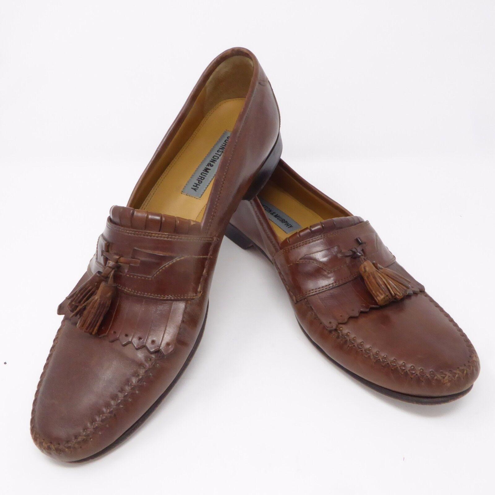JOHNSTON & MURPHY Marronee Leather Slip On Loafers Tassel sautope Dimensione 11 N NARROW Sautope classeiche da uomo