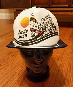Vintage 80s Costa Rica Wind Surf Hat Cap Snap back Beach Volleyball ... 2c87e1c4086e