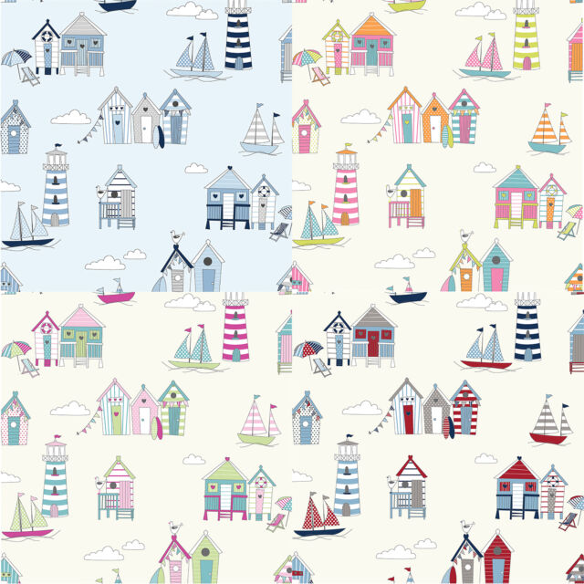 "100% PREMIUM COTTON FABRIC - 140cm / 55"" Wide - HAPPY DAYS - BEACH HUTS DESIGN"