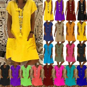 Womens-Boho-Oversized-Beach-Dress-Beach-Tunic-Top-Casual-Summer-T-Shirt-Sundress