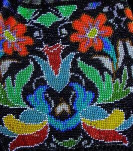 tolle-farbenpraechtige-Art-Deco-PERLTASCHE-Perlstickerei-Geldboerse