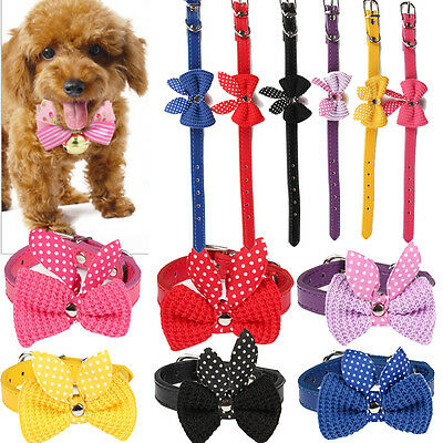 Cute Knit Bowknot Adjustable Leather Dog Puppy Pet Cat Collars Necklace Collar