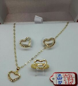 Gold-Authentic-18k-gold-heart-set-18-inches-chain-necklace