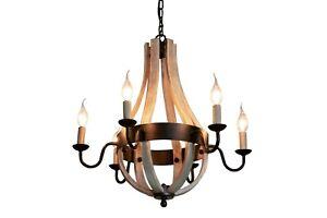 6-Light-Chandelier-Lighting-Black-amp-Wood-Country-Farmhouse-Large-New-E14