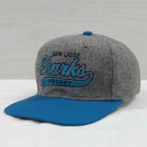 Vintage-San-Jose-Sharks-Wool-Starter-Script-Snapback-Hat-Cap-Size-OSFA-90s-NHL