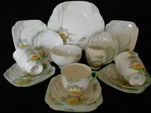 "Art Deco 1930s Roslyn Fine Bone China Teeservice ""Lily"" Muster handbemalt"