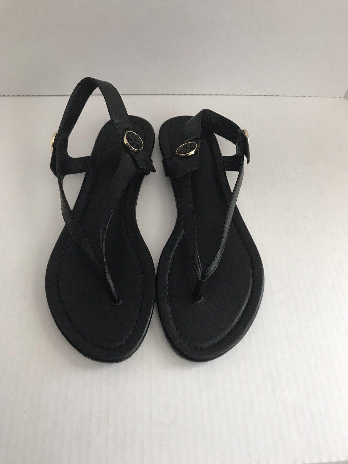 Tory Burch Minnie Leather Flat Travel Sandals Size 9.5 Black