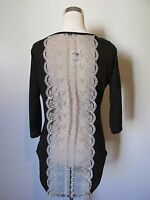 Charlotte Russe Black/lace Sheer Back Short Sleeve Knit Hi-lo Top Sz: M