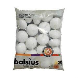 Premium-Bolsius-Bianco-Galleggianti-candele-20-Pacco-5hour-bruciare-tempo-GRANDE-VALORE