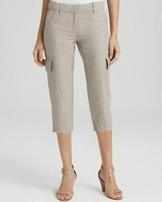 NWT Eileen Fisher Cropped Cargo Pant Organic Linen Natural Khaki  – 6, 8