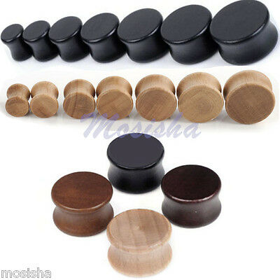2x Nature Organic Wood Double Flared Saddle Ear Tunnels Plugs Stretcher Gauge MO