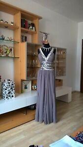 neuer Lebensstil Neuestes Design einzigartiger Stil Details zu HEINE Abendkleid Gr 40 grau silber Pailletten Chiffon Godetform  sehr extravagant