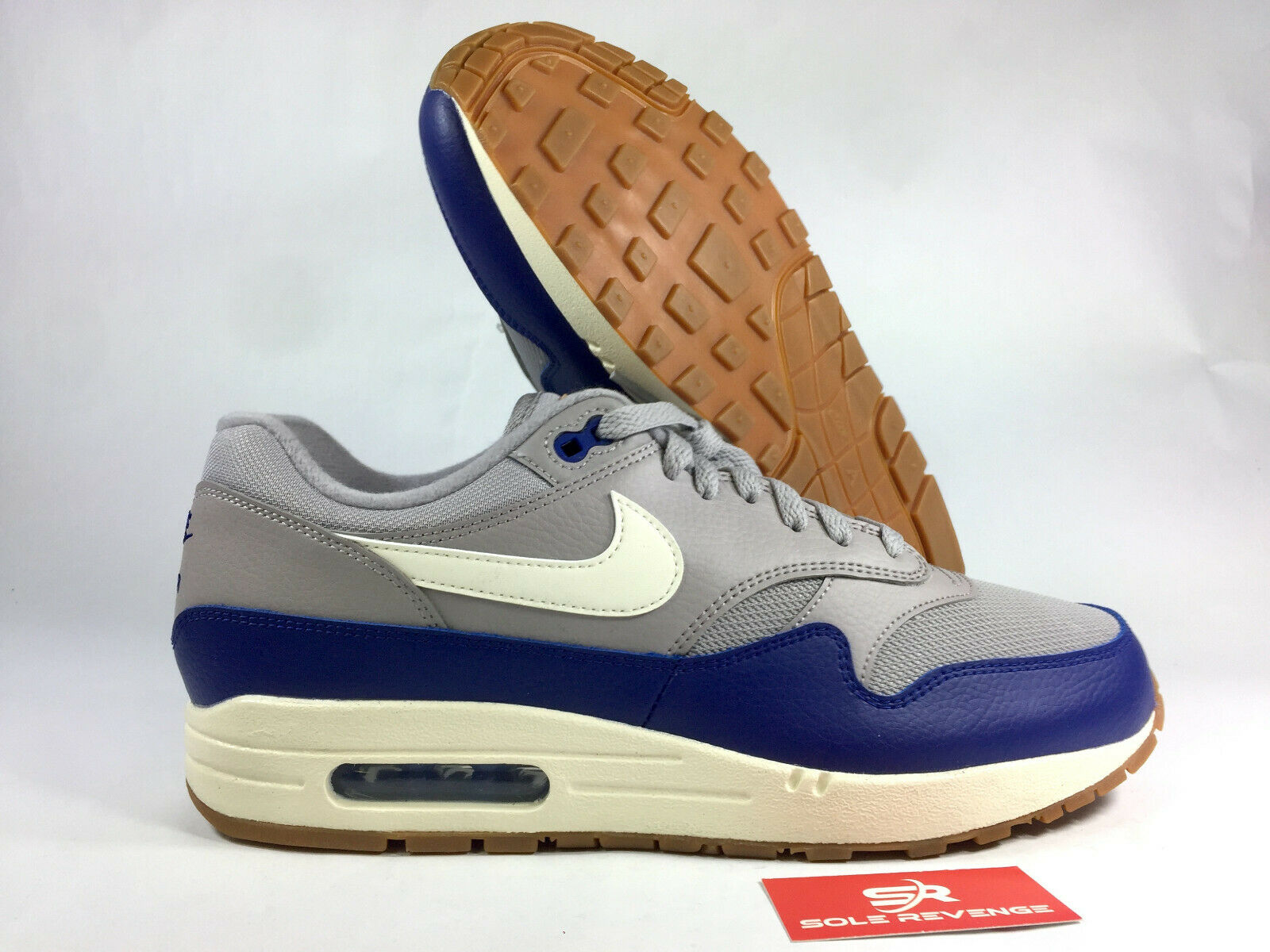 New Nike Air Max 1 AH8145-008 Grey bluee White   Premium Mens shoes c1