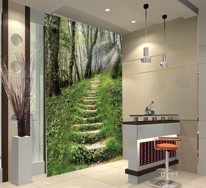 3D Green Plant Stair 8 Wall Paper Murals Wall Print Wall Wallpaper Mural AU Kyra