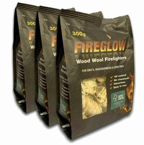 Fireglow Natural Firelighters Long Burning Wax Wood Wool Fires BBQ 300g per pack