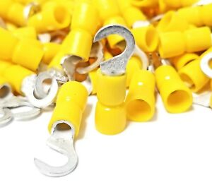 12-10 Yellow Vinyl Insulated #6 Hook 100PK FLANGED FORK Terminal