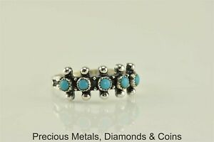 Native-American-Sterling-Silver-Larimar-Button-Beaded-Band-Ring-925-Sz-7