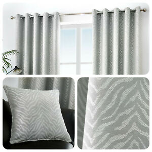 Curtina-AFRICA-Stone-Grey-Animal-Striped-Eyelet-Curtains-amp-Cushions
