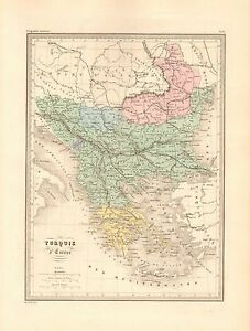1880 Ca Antique Map Malte Brun Turkey In Europe Ebay