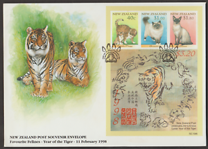 F104-NEW-ZEALAND-1998-FAVOURITE-FELINES-CATS-YEAR-OF-TIGER-MS-FDC