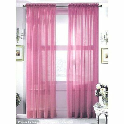 """Curtain Drapes NEW 2 Panel Polyester Sheer Window Voile 60"""" X 84"""" Rose Rod"""
