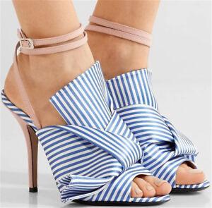 Women-Slim-High-Heels-Buckle-Slingback-Stripe-Sandals-Peep-Toe-Summer-Shoes-Blue