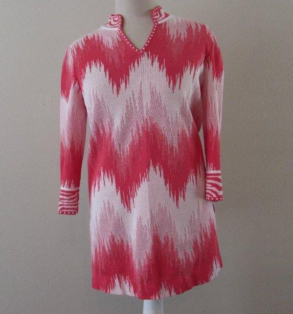 MING WANG damen XS coral Rosa Weiß chevron beaded tunic sweater top MINT