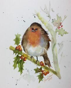 ROBIN PAINTING original watercolour painting by Diane Antone