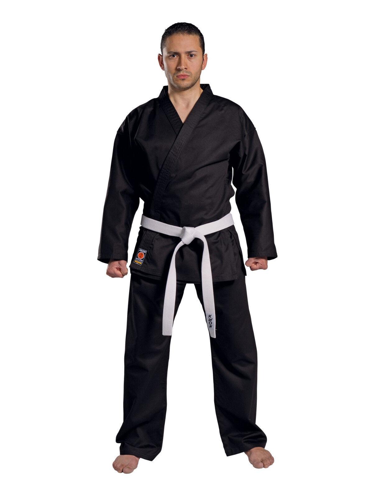 Kwon- Karateanzug Traditional 8 oz., in Schwarz. Karate. Gi. Kimono.