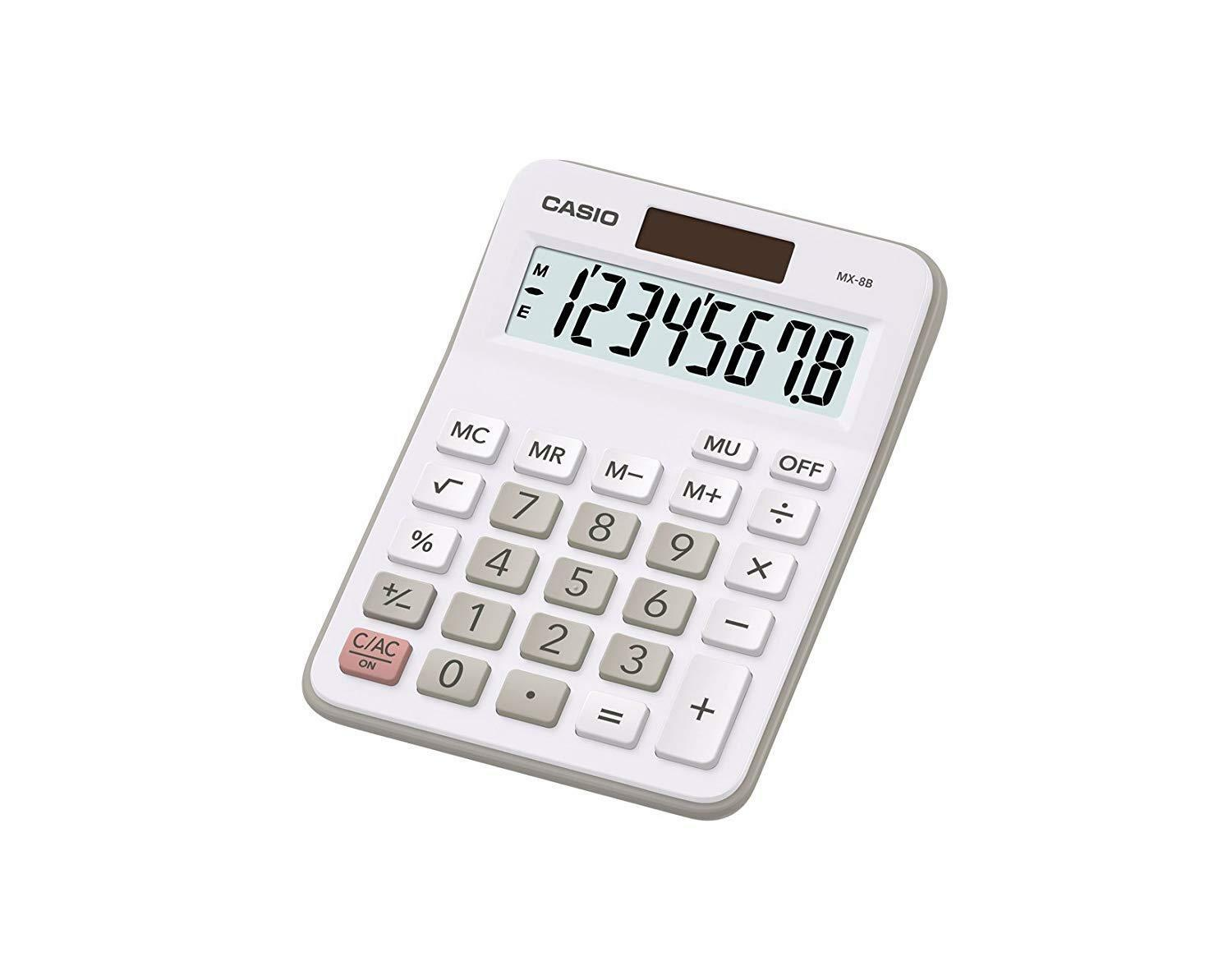 NEW Genuine Casio 8 Digits Solar & Battery Powered Desktop Calculator - White