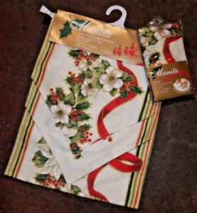 Details About New Cream Red Festive Christmas Garland Poinsettia Table Runner Napkins