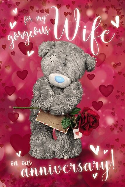 For My Gorgeous WIFE  - Medium 3D -  Tatty Teddy Me to You - Anniversary Card
