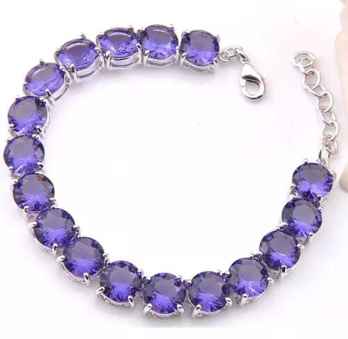 Dark Amethyst Gemstone Bracelet 54TCW Sterling Silver 7-8 In