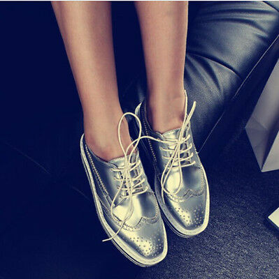 Oxfords Retro Womens Wingtip Brogues Punk Lace Up Flats Platform Girl Shoes Plus