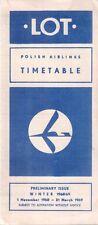LOT POLISH AIRLINES PRELIMINARY TIMETABLE WINTER 1968/69 POLSKIE LINIE LOTNICZE