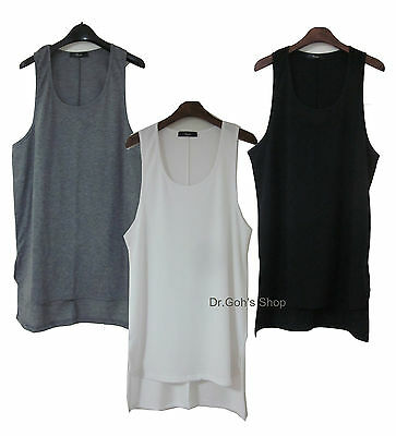 New Trandy Unblanced High Low Tank Top Sleeveless Tee Side Split Extended 158FOG