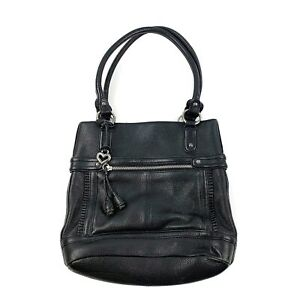 BRIGHTON-Womens-Black-Pebbled-Leather-Soft-Shoulder-Purse-Handbag-Satchel